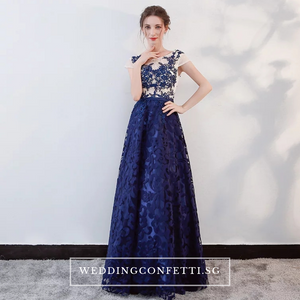 The Kresalyn Navy Blue Sleeveless Lace Gown