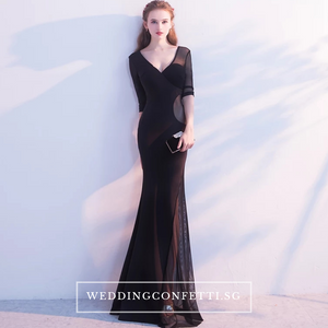 The Orienza White/Black/ Red Sleeveless Gown - WeddingConfetti