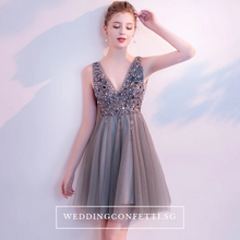 Load image into Gallery viewer, The Sophiare Grey Glittery Sleeveless Cocktail Dress - WeddingConfetti