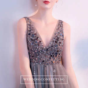 The Sophiare Grey Glittery Sleeveless Cocktail Dress