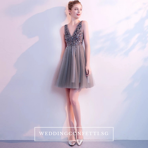 The Sophiare Grey Glittery Sleeveless Cocktail Dress - WeddingConfetti