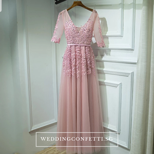The Serena White/ Blue / Red / Pink / Black Long Sleeves Gown (Customisable) - WeddingConfetti