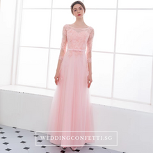 Load image into Gallery viewer, The Veronica Pink Lace Long Sleeves Dress - WeddingConfetti