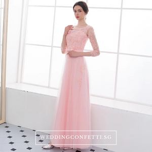 The Veronica Pink Lace Long Sleeves Dress - WeddingConfetti