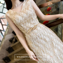 Load image into Gallery viewer, The Gillian Wedding Bridal Sleeveless Gold / Silver Gown - WeddingConfetti