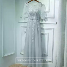 Load image into Gallery viewer, The Meredy Lace Long Sleeve Midnight Blue / Grey Gown (Available in 2 colours) - WeddingConfetti