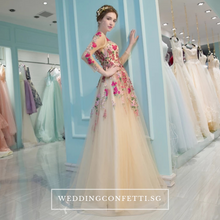 Load image into Gallery viewer, The Amelda Champagne Floral Gown - WeddingConfetti