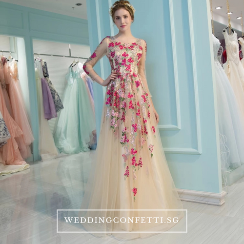 The Amelda Champagne Floral Gown - WeddingConfetti