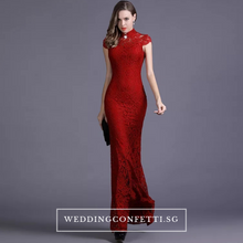 Load image into Gallery viewer, The Hensley Cheongsam Mandarin Collar Off White/Black/Red Lace Gown - WeddingConfetti