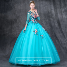 Load image into Gallery viewer, The Johanni Long Sleeves Turquoise Gown (Customisable) - WeddingConfetti