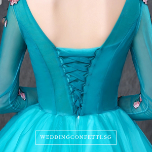The Johanni Long Sleeves Turquoise Gown (Customisable) - WeddingConfetti
