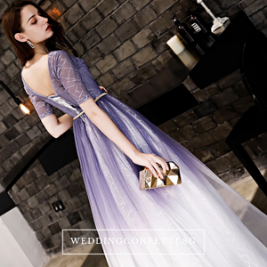 The Rosanda Lilac Purple Ombre Long Sleeves Gown - WeddingConfetti