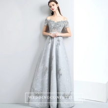 Load image into Gallery viewer, The Anna Silver A Line Off Shoulder Gown - WeddingConfetti