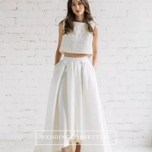 Load image into Gallery viewer, The Reneta White/Black/Green/Red/Grey Sleeveless Crop Top Maxi Wedding Dress