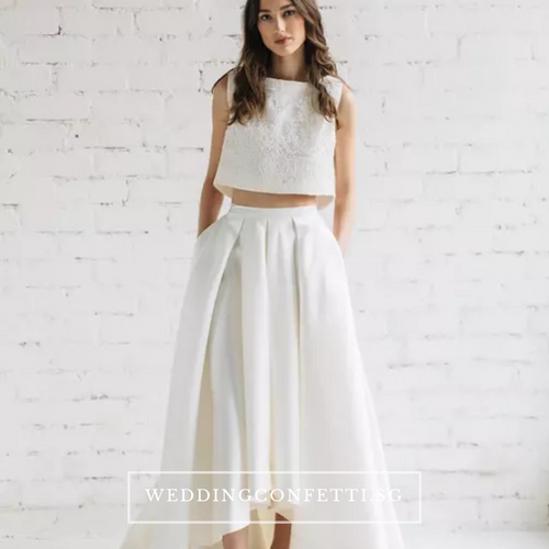 The Reneta Sleeveless Crop Top Maxi & Skirt (Customisable/Available in 5 colours) - WeddingConfetti
