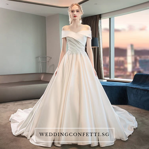 The Catelyn Wedding Bridal Off Shoulder Satin Gown - WeddingConfetti
