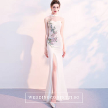 Load image into Gallery viewer, The Marisa Mandarin Collar White / Red / Black Sleeveless Gown - WeddingConfetti