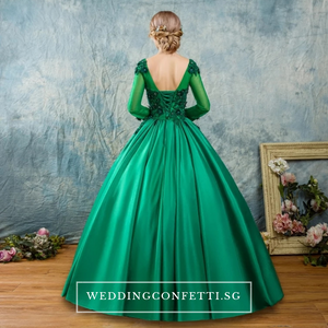 The Bertilîna Wedding Bridal Green Satin Gown - WeddingConfetti