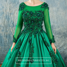 Load image into Gallery viewer, The Bertilîna Wedding Bridal Green Satin Gown - WeddingConfetti