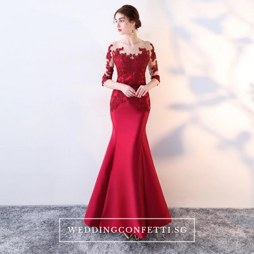 The Rerenza Wine Red Illusion Neckline Long Sleeves Gown - WeddingConfetti