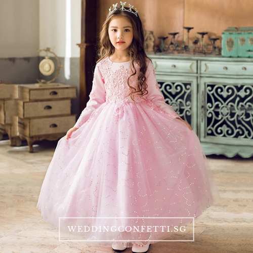 The Pearlyn Flower Girl Dress (Long Sleeves)  (Available in 3 colours) - WeddingConfetti