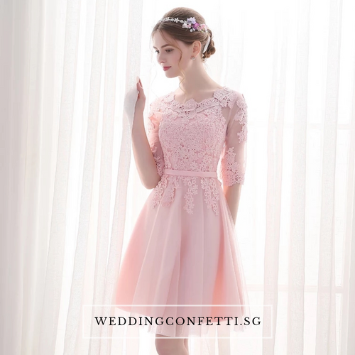 The Estelle Wedding Bridal Pink Lace Dress - WeddingConfetti