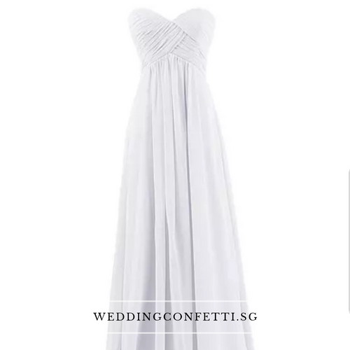 *Brand New* White Chiffon Tube Dress - WeddingConfetti