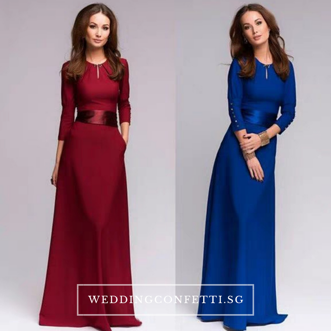 The Azura Red/ Blue Long Sleeves Dress - WeddingConfetti