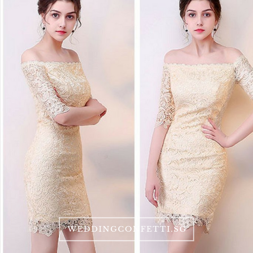 The Kendy Off Shoulder Champagne Lace Dress - WeddingConfetti