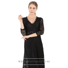 Load image into Gallery viewer, Azelia Black Long Lace Dress - WeddingConfetti