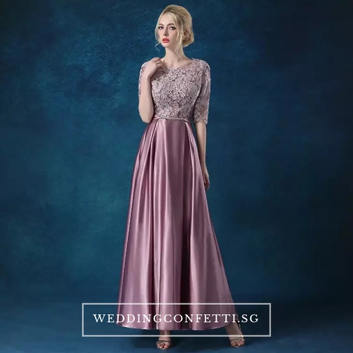 The Patrina Long Sleeves Gold / Grey / Red / Pink / Lilac Lace Gown - WeddingConfetti