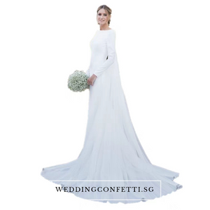 The Premala Bridal Long Sleeves White Gown (Customisable) - WeddingConfetti