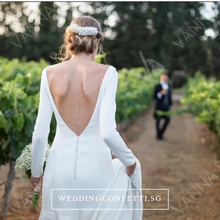 Load image into Gallery viewer, The Premala Bridal Long Sleeves White Gown (Customisable) - WeddingConfetti