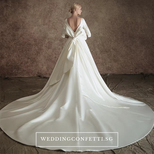 The Johanssen Wedding Bridal Satin With Detachable Train Gown