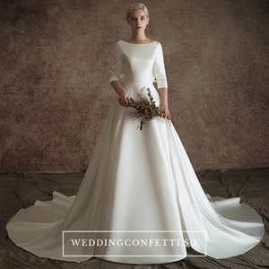 The Johanssen Wedding Bridal Satin With Detachable Train Gown - WeddingConfetti