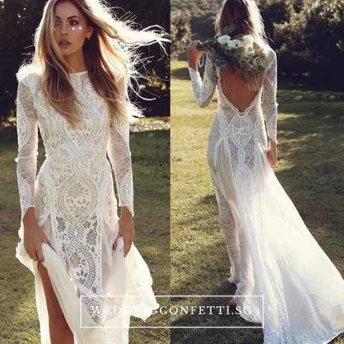 The Jaycayla Wedding Bridal Long Sleeves Chantily Lace Dress Gown - WeddingConfetti