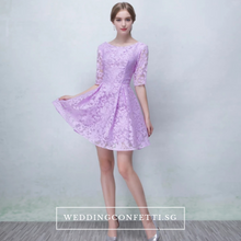 Load image into Gallery viewer, The Pandora Lilac/White/Champagne Short Long Sleeve Dress