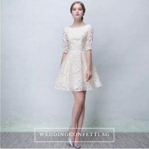 The Pandora Lilac/White/Champagne Short Long Sleeve Dress