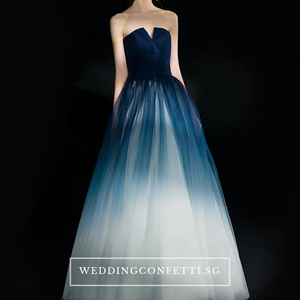 The Ashlie Ombre Blue / Red / Black Tube Gown (Available in 3 Colours) - WeddingConfetti