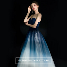 Load image into Gallery viewer, The Ashlie Ombre Blue/Red/Black Tube Gown