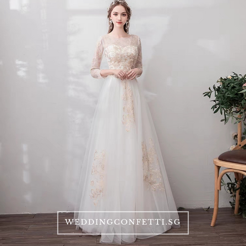 The Marlowe Wedding Bridal White Long Illusion Sleeves Dress  - WeddingConfetti