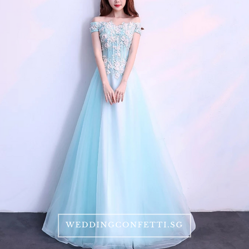 The Elisa Wedding Bridal Blue Off Shoulder Dress - WeddingConfetti