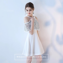 Load image into Gallery viewer, The Lorde Lace Off Shoulder / Halter Black / White Dress - WeddingConfetti
