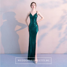 Load image into Gallery viewer, The Soleil Blue/Wine Red/Green Sleeveless Sequined Dress - WeddingConfetti