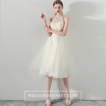Load image into Gallery viewer, The Ethelda Red/Champagne Halter Tulle Dress - WeddingConfetti