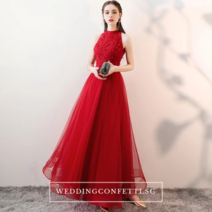 The Ethelda Red/Champagne Halter Tulle Dress - WeddingConfetti