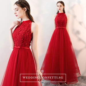 The Ethelda Red/Champagne Halter Tulle Dress