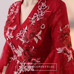 The Kaftan Blue/Red Floral Gown (Available in 2 colours) - WeddingConfetti