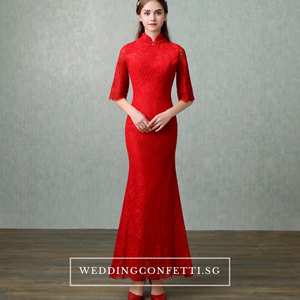 The Elyse Red / White Cheongsam Mandarin Collar Dress - WeddingConfetti
