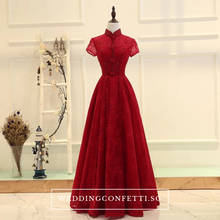 Load image into Gallery viewer, The Jassinta Red Cheongsam Mandarin Collar Short Sleeves Dress - WeddingConfetti